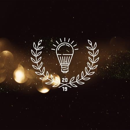 2019 labeled light bulb and laurel icon above light texture